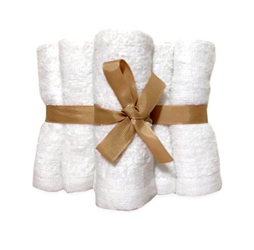 Premium Baby Bamboo Ultra Soft Washcloths 10''x 10'' (Pack of 6)-Perfect Baby Shower & Registry Gifts-Hypoallergenic For Sensitive Skin, Eczema, Rosacea-Naturally Yours Baby by NATURALLY YOURS BABY! Bamboo Pure White Washcloth Towels for Babies