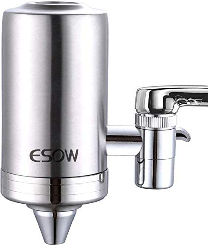 ESOW Faucet Mount Water Filter, SUS304 Stainless Steel Reduce Chlorine,Lead,BPA Free, Water Purifier with Carbon Filtration Technology, Fits Standard Faucets (1 Filter Cartridges Included)