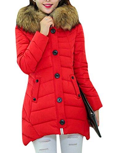 Fur Trim Tweed - Lingswallow Women's Winter Oversize Faux Fur Trim Hooded Down Coat Jacket Green