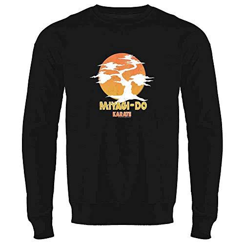 Karate Kid Miyagi-Do Dojo Bonsai Sunset Costume Black M Mens Fleece Crew Sweatshirt]()