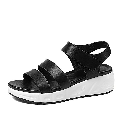 0c564e16013 Sandalias ZCJB Romanas De Verano Zapatos De Mujer De Tacón Plano De Cuero  Zapatos De Plataforma