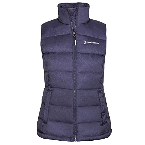 Quilted Vest Ladies Full Zip (Free Country Women Lightweight Full Zip Soft Down Puffer Quilted Vest Navy L)