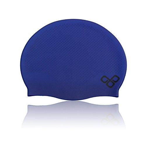 Waterproof Swimming Cap That Keeps Short Hair Dry & Doesn't Leak - Swimming Caps for Women (Ladies) and Men (Male) - Swimmer Swim Cap Silicone (Dark Blue / Set of 2)