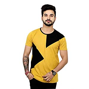THE EG STORE Designer Round Neck Half Sleeve Cotton T Shirt for Mens (Small, Green) (Small, Brown)