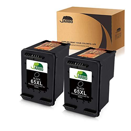 JARBO 65 Ink Remanufactured for HP 65 65XL 65 XL Black Ink Cartridge (N9K04AN), 2 Black, Use with HP Envy 5055, 5058, 5052, DeskJet 3755 2655 3720 3722 3723 3730 3732 3752 3758 2624 Printer