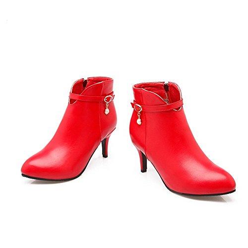 AllhqFashion Mujeres Cremallera Sólido Tacón de aguja Caña Baja Botas con Joyas Rojo
