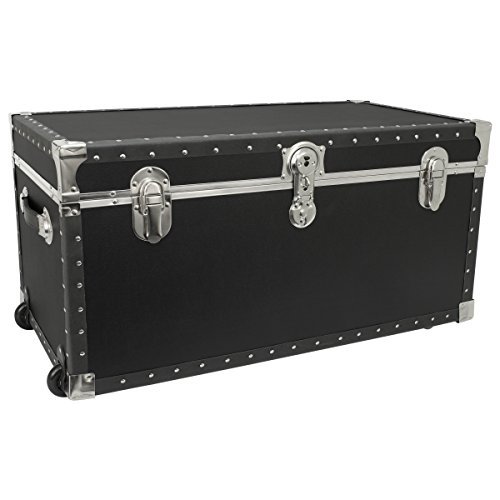 Seward Trunk Trailblazer Oversized Footlocker Trunk with Wheels, Black, 31-inch (SWD5231-11) (Footlocker Trunk)