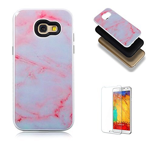 For Samsung Galaxy A5 2017 Case {with Free Screen Protector},Funyye 3D Marble Stone Partten Design Anti-Scratch Dual Layer Hybrid Protective Case for Samsung Galaxy A5 (2017 Model)-Pinky White