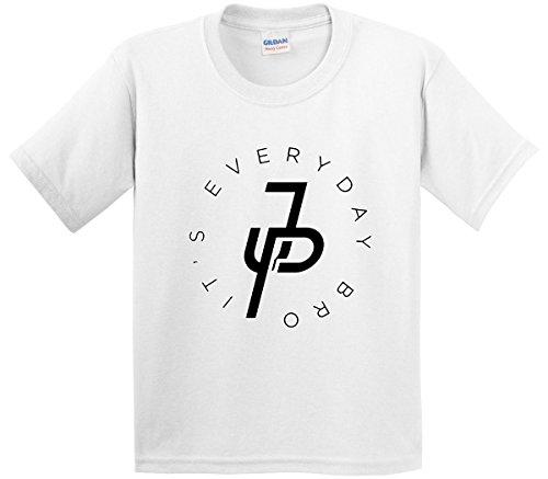 White Bro T-shirt (New Way 829 - Youth T-Shirt It's Everyday Bro Jake Paul JP Logo Large White)