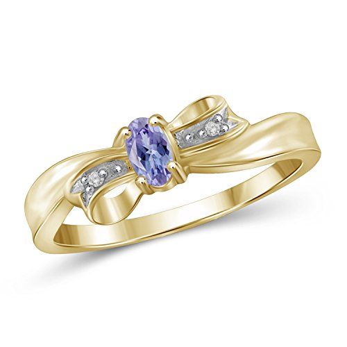 Jewelexcess 0.20 Carat T.G.W. Genuine Tanzanite & Accent White Diamond Ring in 14k Gold Over Silver