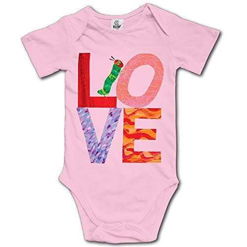 Ghhpws Love from Very Hungry with Caterpillar Baby's Boy's/Girl's Short Sleeve Comfortable Bodysuit Outfits Pink Size 6 M ()