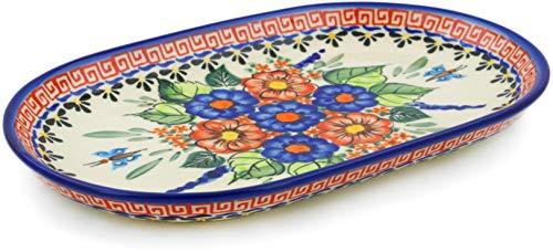 (Polish Pottery 9¼-inch Platter (Spring Splendor Theme) Signature UNIKAT + Certificate of Authenticity)
