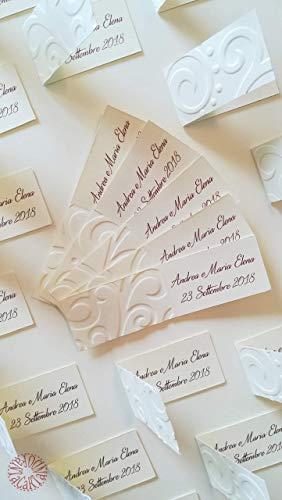 Bigliettini Matrimonio Bomboniere.Kit 10 Bigliettini Bomboniere Con Decorazione In Rilievo Onde Per