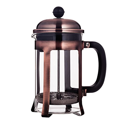 Mandarin-Gear Copper Stainless Steel French Press Coffee Maker, 28 oz / 800 ml