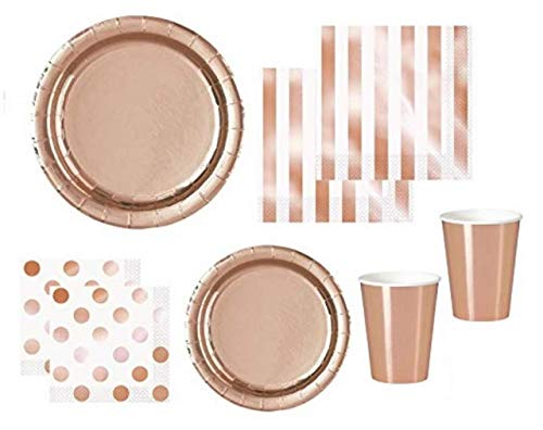Rose Gold Party Supplies Elegant Foil Paper Plates, Napkins, Cocktail Napkins, Paper Cups for 16 People