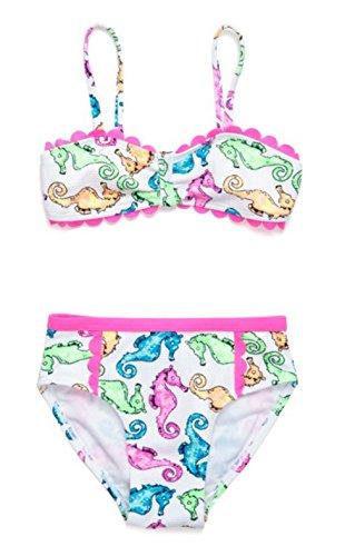 Flapdoodles 2-Piece Seahorse Bikini Set Toddler Little Girls (4T, Multi) ()