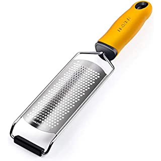 Multipurpose Zester Grater - Parmesan Cheese, Citrus, Lemon, Lime, Ginger, Chocolate, Fruits, Soft Grip Handle, Stainless Steel Fine Blades with Protector, Hand-held Kitchen Tool, Dishwasher Safe