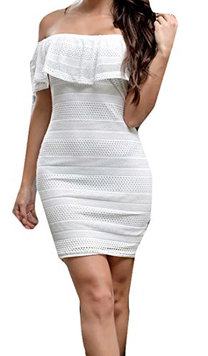 Cromoncent Women's Lace Off Shoulder Bodycon Ruffle Sexy Mini Dress White Medium