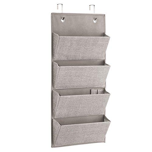 Ideale per LUfficio mDesign Portaoggetti pensile Portaoggetti da Appendere alla Porta o al Muro con 4 sezioni Organizer in Iuta Grande