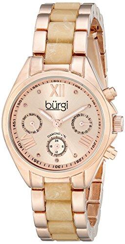 Burgi Women's BUR130RGW Diamond Accented Rose Gold & Cream Resin Multifunction Bracelet Watch