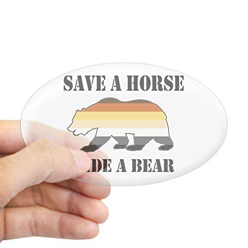 831e4a8a CafePress Gay Bear Save A Horse Ride A Bear Sticker Oval Bumper Sticker Car  Decal