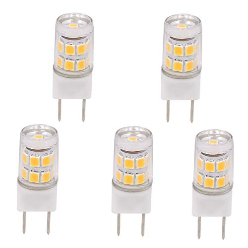 Ylaide G8 led Light Bulbs, G8 Gy8.6 Base Non-Dimmable AC110-120V 2W, 20W Halogen Bulbs Replacement for Microwave Oven, Puck Light, Under Counter Kitchen Lighting Pack of 5 (Warm White 3000K)