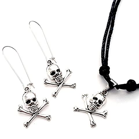 Sabai NYC Pirate Skull Earring & Adjustable Necklace Set - Crossbones Slide Charm