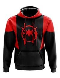 JMD Sudadera Spiderman un Universo Nuevo, con Felpa por Dentro, Capucha y Bolsa Tipo Canguro Color Negro