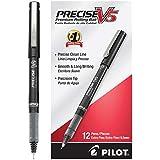 Pilot Precise V5 Stick Rolling Ball Pens, Extra Fine Point, Dozen Box, Black Ink (35334)
