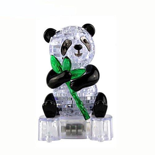 Kanzd 3D Crystal Puzzle Cute Panda Model DIY Gadget Blocks Building Educational Toy Kids Gift Party (Multicolor)