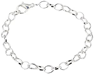 "Housweety 12 Silver Plated Chain Bracelets Fit Clip on Charm 20cm(7-7/8"")"