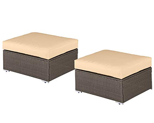 SUNCROWN Outdoor Furniture All Weather Brown Checkered Wicker Ottoman (2) | Additional Seats 7-Piece Sets | Patio, Backyard, Pool | Machine Washable Cushion Covers