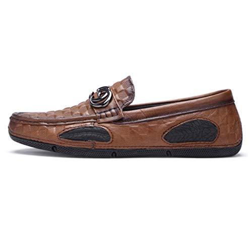 Bajo Ocasionales Brown Barco Negocios Conducción A Hombres Mano Mocasín De Hecho Cuero Zapatos gommino Planos Corte Los pEqavHAxw