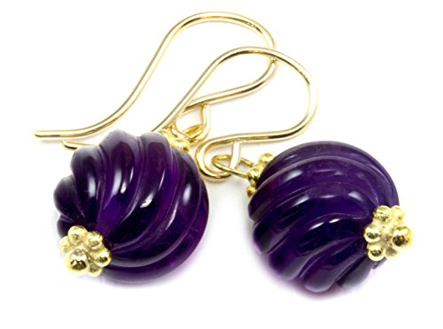 Amethyst Gold Tone Earrings - 14k Yellow Gold Filled Amethyst Earrings Smooth Purple Round Carved Swirl Simple Drops Goldtone Accents