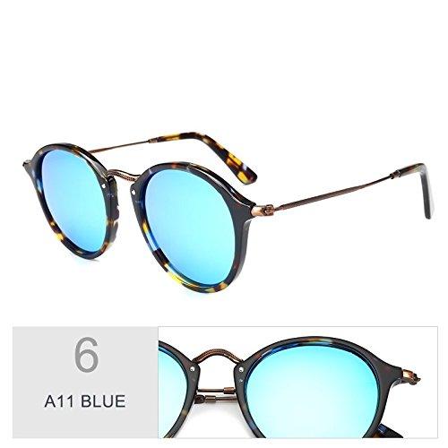 Gafas A11 Unisex Gafas BLUE Sol Madera Similares Azul De TIANLIANG04 Uv400 Redondas C19 Polarizadas De YOzqnw