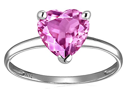 - Star K Created Pink Sapphire Heart Shape 8mm Solitaire Engagement Ring 14 kt White Gold Size 6