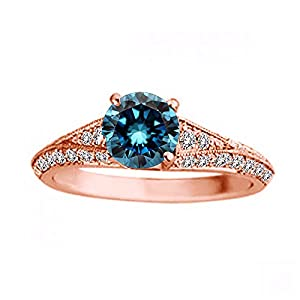1.50 Carat Blue Diamond Fancy Eternity Engagement Wedding Anniversary Bridal Ring 14K Rose Gold