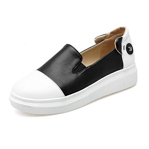 AgooLar Damen Niedriger Absatz Weiches Material Eingelegt Ziehen auf Rund Zehe Pumps Schuhe Schwarz