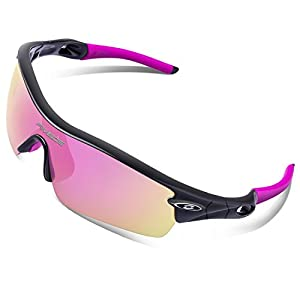 RIVBOS 805 Polarized Sports Sunglasses Glasses for Women with 5 Set Interchangeable Lenses for Cycling (TR90 Black&Pink) c