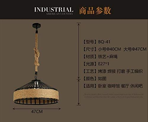 Chandelier Hemp Rope Restaurant Chandelier Personality Nordic Clothing Store Tea Shop Round Iron LED Creative Chandelier