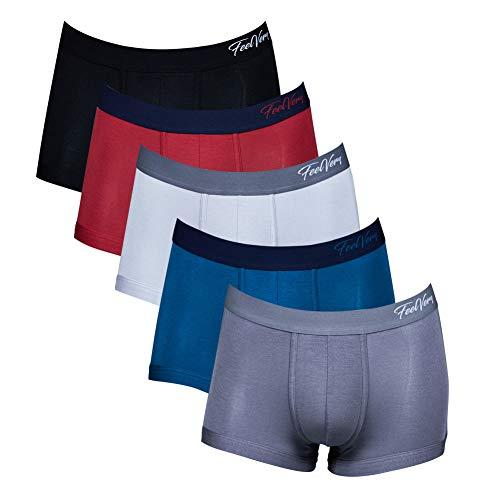 Feelvery Men's Ultra-Soft Premium Modal Comfort Flex Fit Stretch Boxer Briefs Underwear (5 Pack) (Short Leg, B-Type, X-Large)