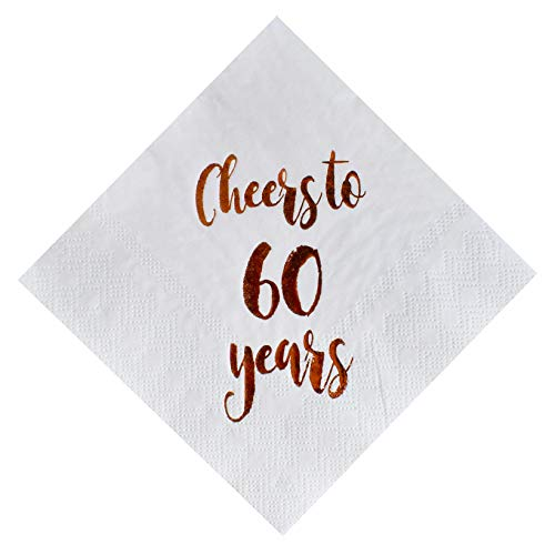 (Cheers to 60 Years Cocktail Napkins, 50-Pack 3ply White Rose Gold 60th Birthday Dinner Celebration Party Decoration Napkin)