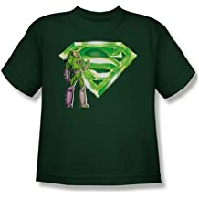 Superman - Lex & Kryptonite Logo Youth T-Shirt In Hunter Green