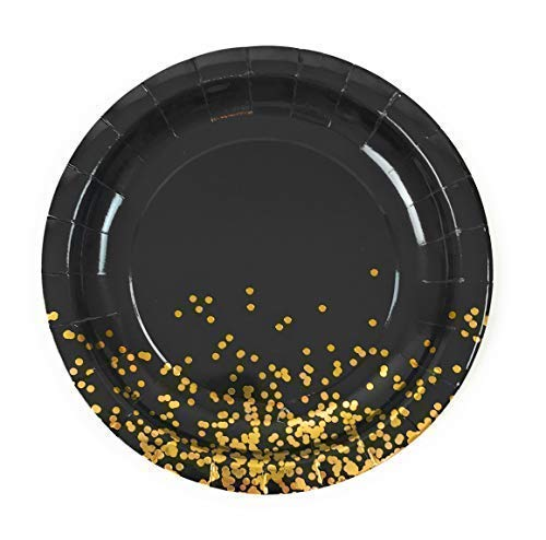 Party Chic Black and Gold Dot Party Pack Disposable 9 inch Gold Foil Dinner Plates Pack of 50 for Party Wedding Elegant Fancy Decorations Holiday Anniversary Birthday Supplies Bachelorette -