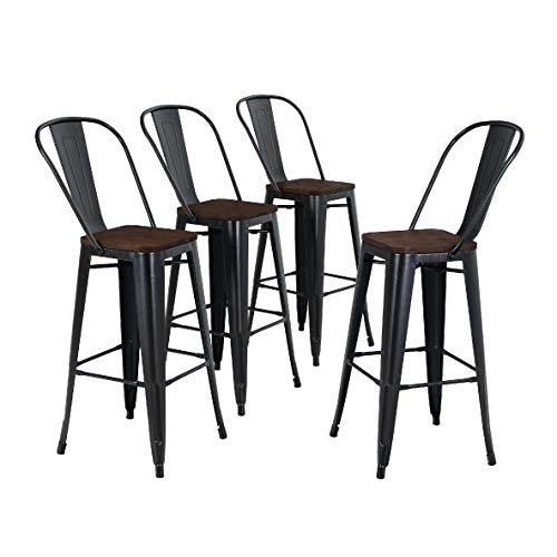 ALPHA HOME 30'' High Back Bar Stools with Wood Seat,Vintage Metal Dining Chairs Stackable Industrial Counter Stool Cafe Side Chairs, Black+Brush Rusty Gold from ALPHA HOME