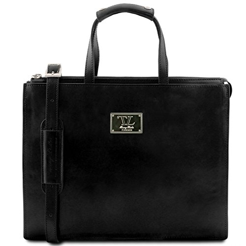 Tuscany Leather - Palermo - Porta Folios Lady Leather 3 Compartments Dark Brown - Tl141343 / 5 Black