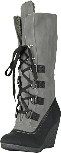 Gcny Goede Keuze Womens Alaska Fashion Lace-up Sleehak Booties Zwart.