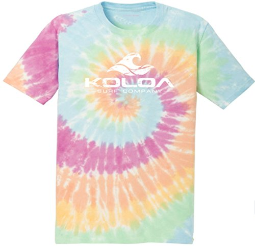 (Koloa Surf(tm) Vintage Wave Colorful Tie-Dye T-Shirt,M-Pastel Rainbow )