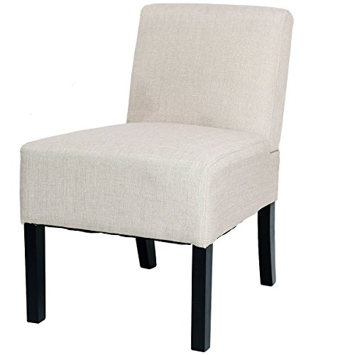 Giantex Accent Chair Living Room Modern Comfortable Single Deco Bedroom Room Office Armless Chair (Beige)