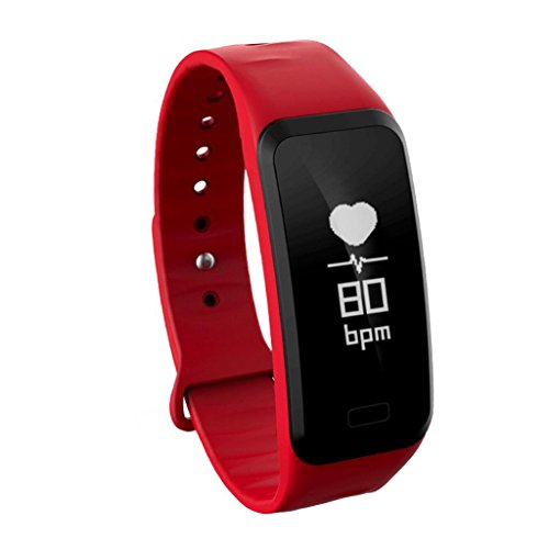 Price comparison product image New R1 Smart Wrist Band Sleep Sports Fitness Activity Heart Rate Tracker Pedometer (Red)